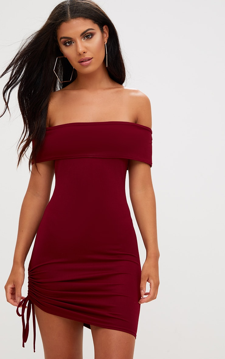Burgundy Bardot Ruched Side Bodycon Dress 1
