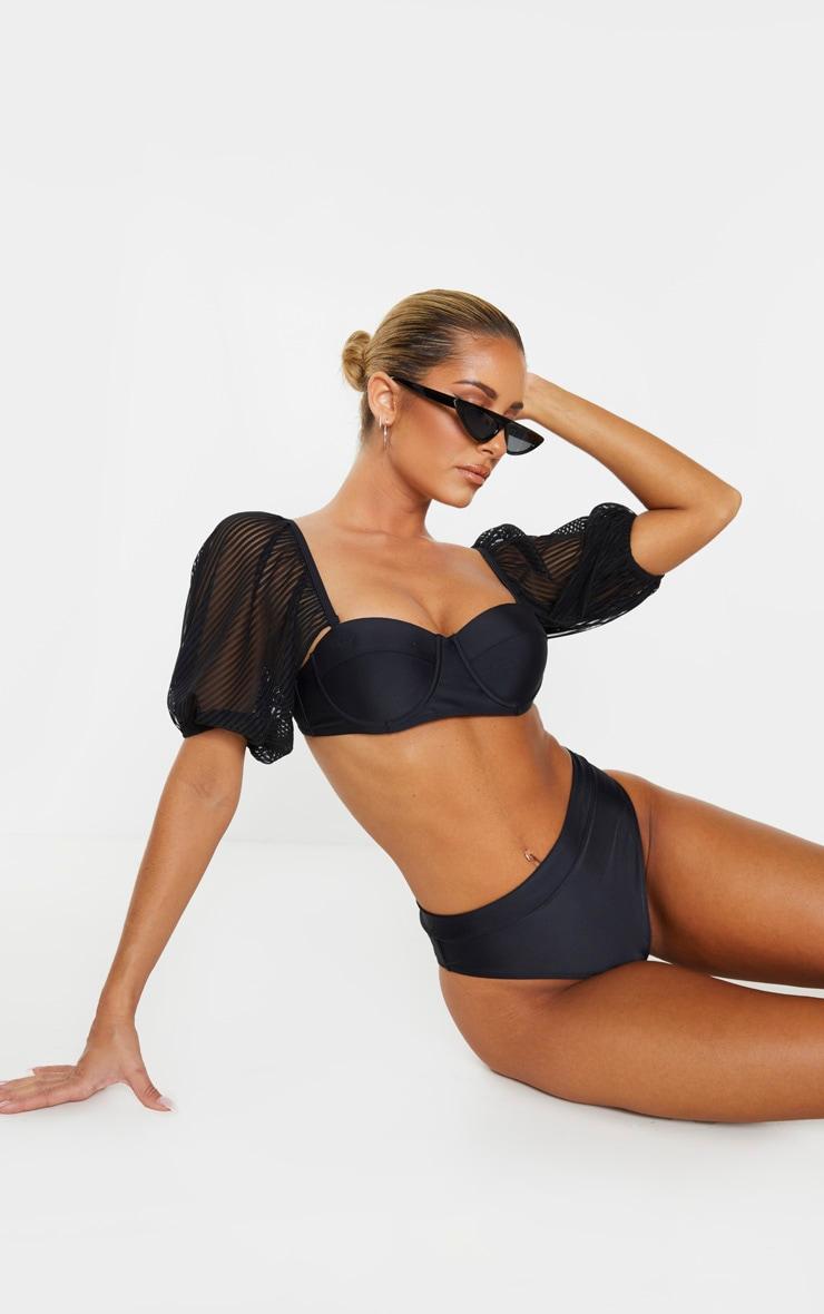 Black Sheer Stripe Puff Sleeve Cupped Bikini Top 1