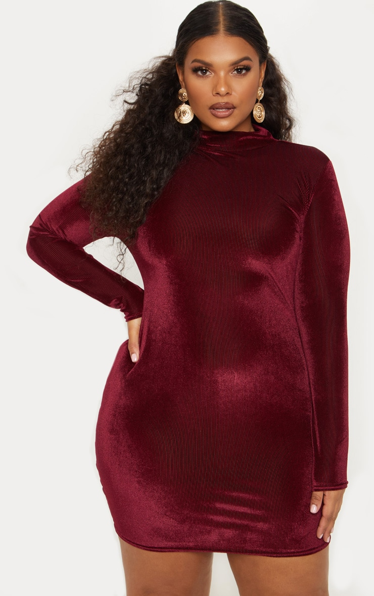 2a395e33310e Plus Burgundy Ribbed Velvet Bodycon Dress image 1