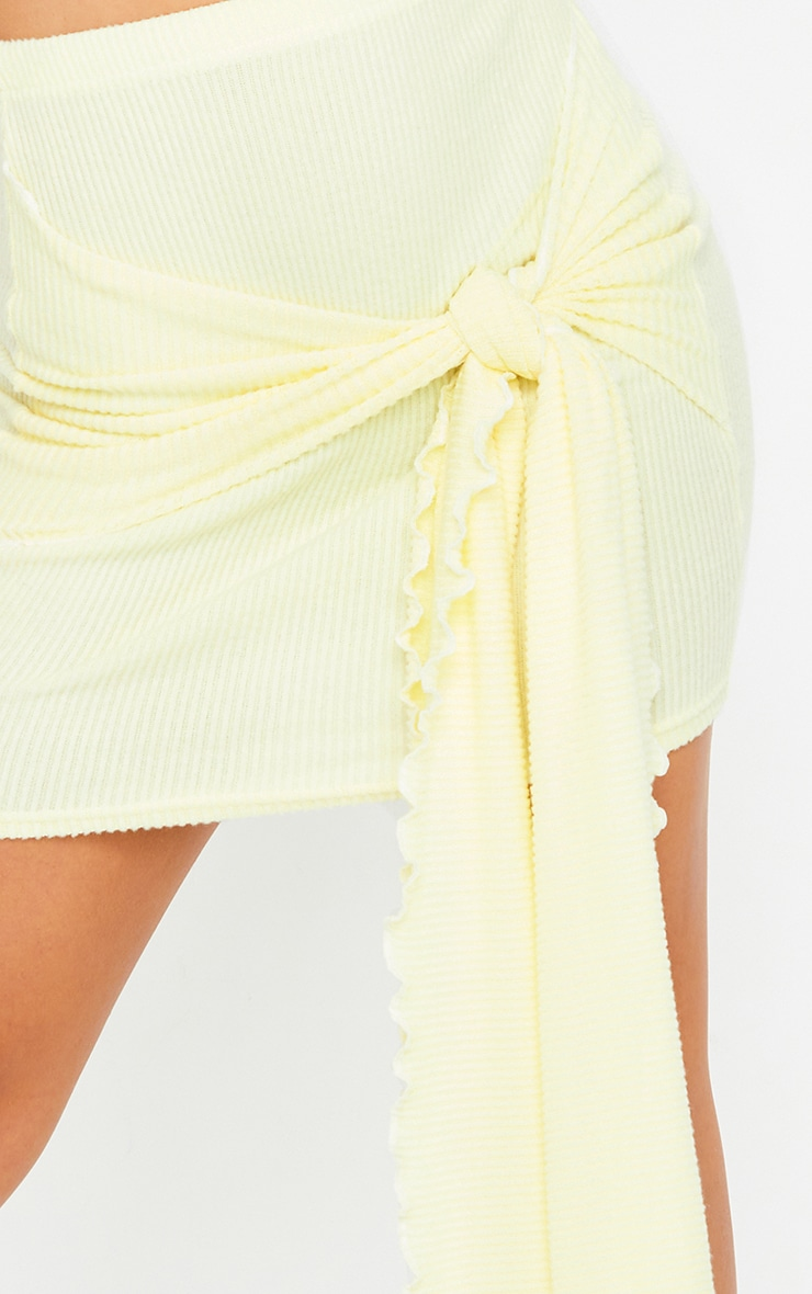 Lemon Tie Detail Brushed Rib Mini Skirt 5