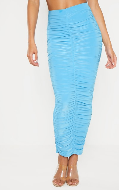 Bright Aqua Slinky Ruched Detail Midaxi Skirt
