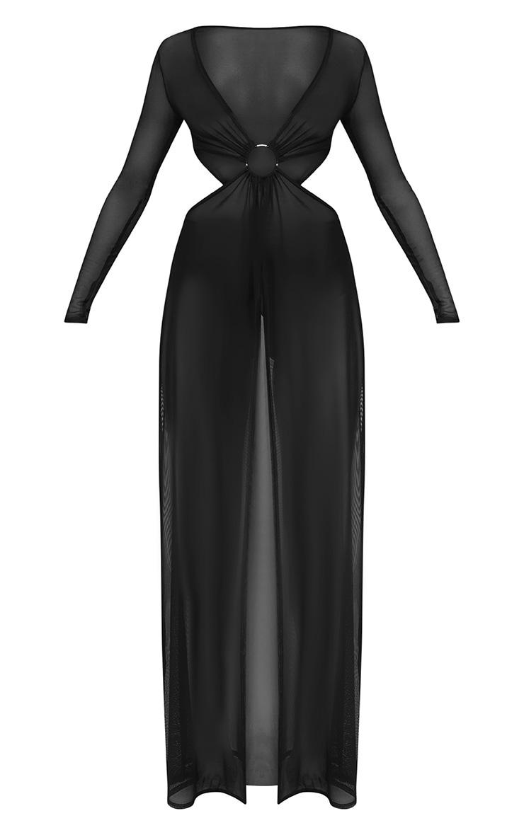 Black Ring Detail Cut Out Mesh Beach Dress 3