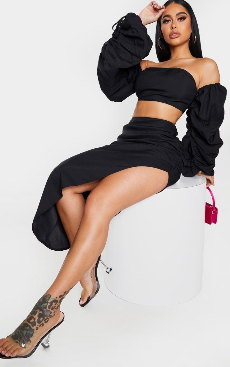 Shape Black Ruched Front Midi Skirt 1