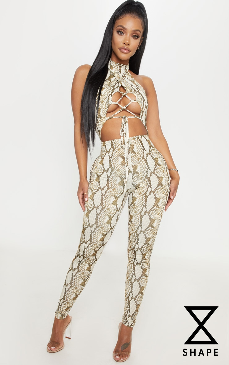 Shape Taupe Slinky Snake Print Lace Up Front Unitard