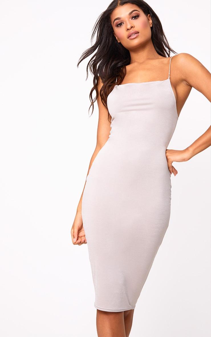 Grey Slinky Diamante Detail Midi Dress 1