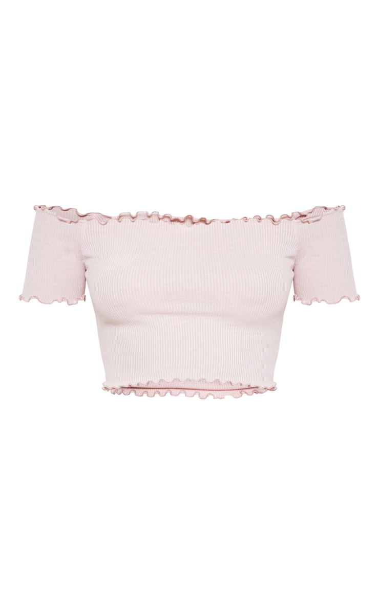 Pastel Pink Short Sleeve Frill Edge Bardot Top 3