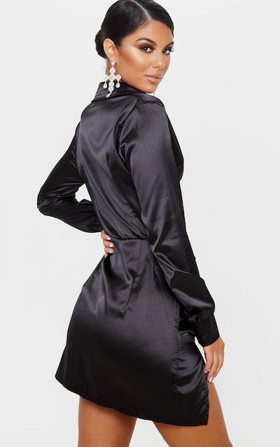 Black Satin Cut Out Ruched Shirt Dress