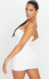 Shape White Mesh Ruched Hook and Eye Bodycon Dress 2