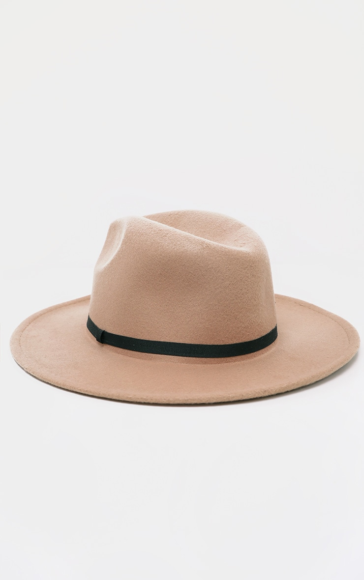 Tan Felt Fedora Hat 2