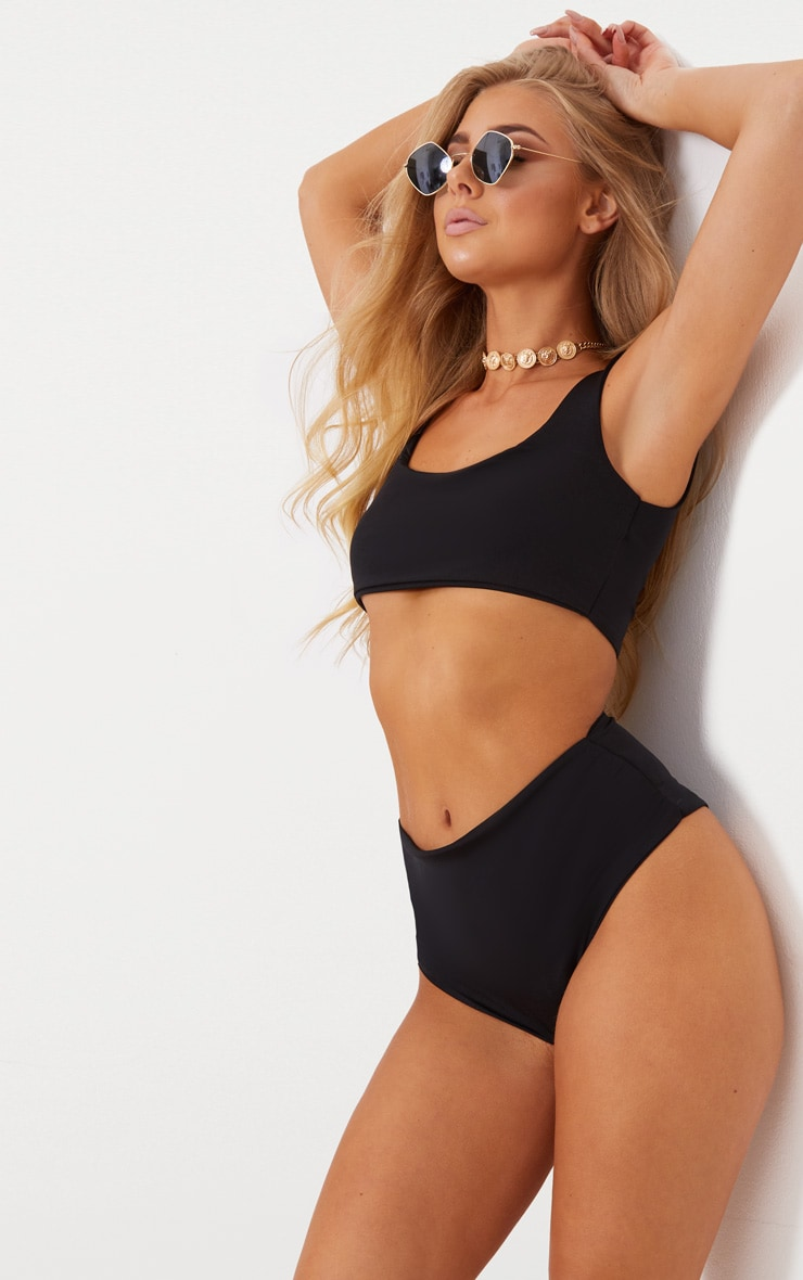 Black Mix & Match Square Neck Cropped Bikini Top 1