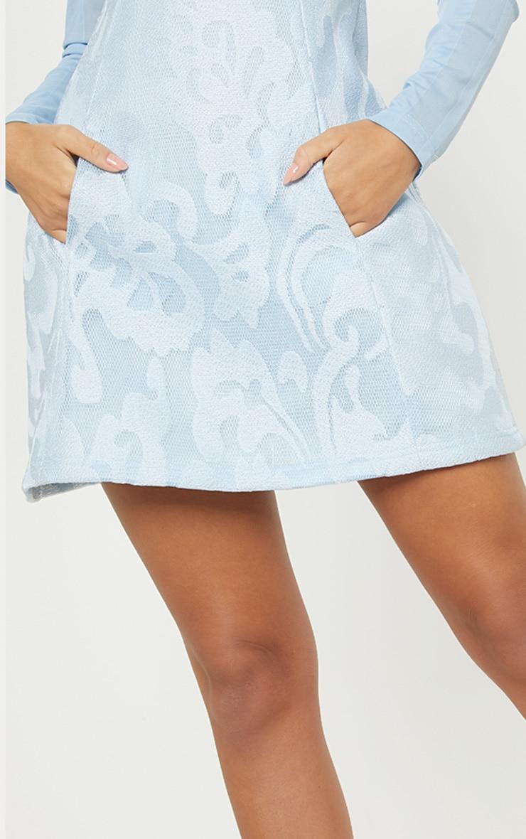 Dusty Blue Bonded Patterned Mesh Sleeve Skater Dress 5
