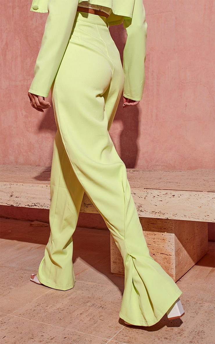 Lime Pleated Detail Tapered Hem Trousers 3
