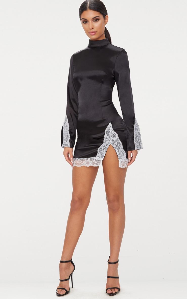 Black Satin Lace Trim High Neck Extreme Split Bodycon Dress  4