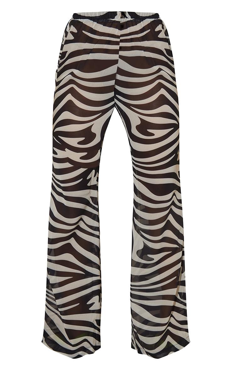 Black Zebra Print Chiffon Elastic Waist Wide Leg Trousers 5
