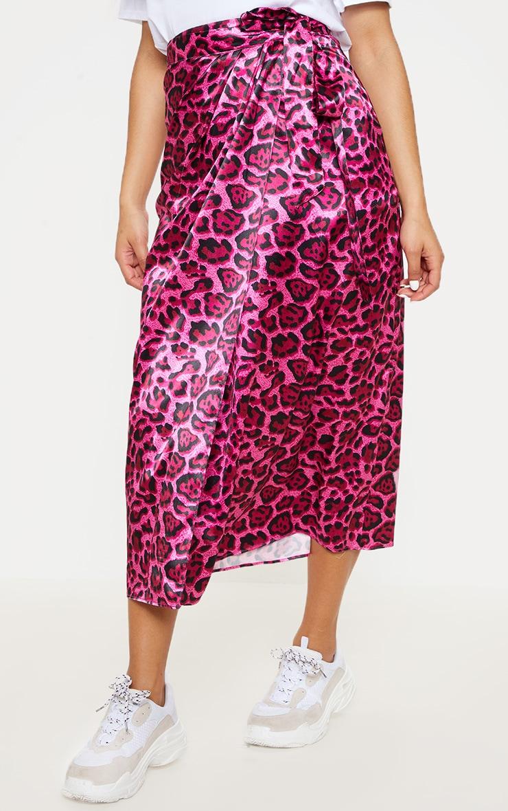 Hot Pink Leopard Print Wrap Detail Midiaxi Skirt 2