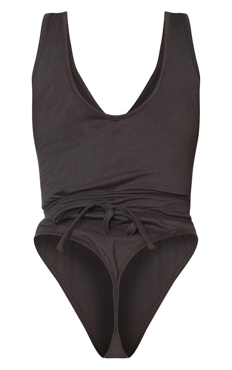 Shape Black Cotton Plunge Wrap Detail Bodysuit 6