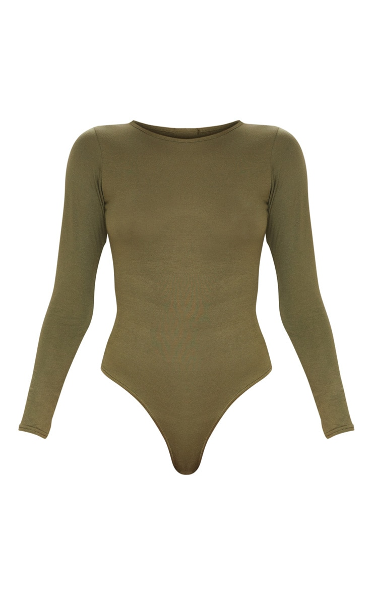 Basic Khaki Crew Neck Long Sleeve Bodysuit 3