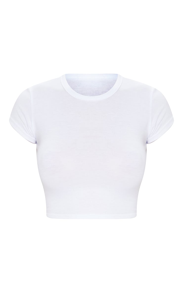 Basic White Short Sleeve Crop T Shirt 5