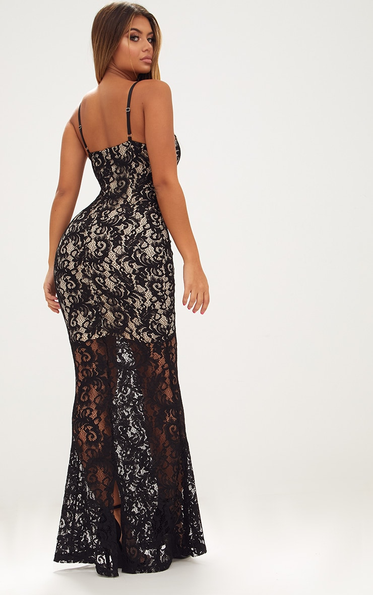 Black Strappy Lace Fishtail Maxi Dress 2