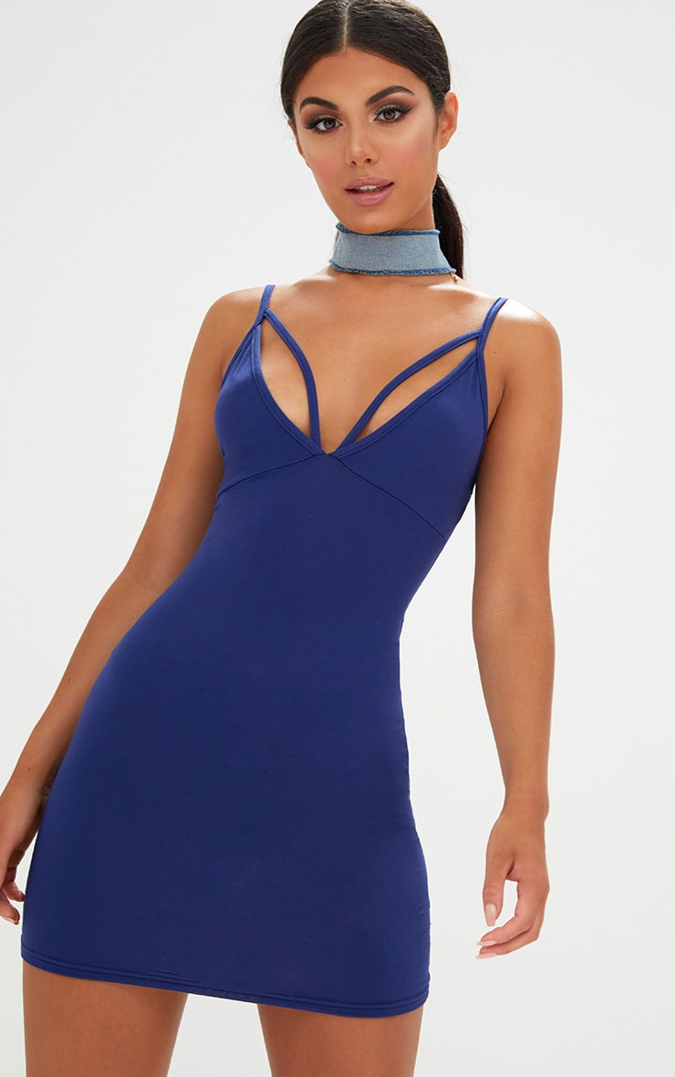 Navy Strap Detail Bodycon Dress 1