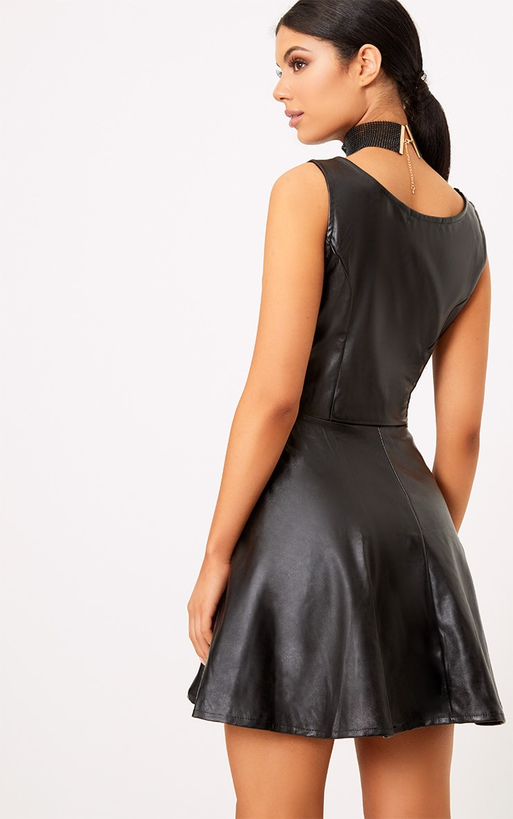 Black PU Skater Dress 2