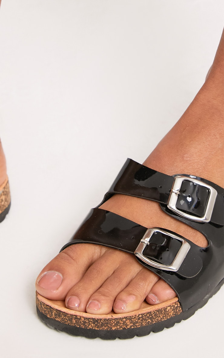 Adena Black Metallic Double Strap Sandals 5