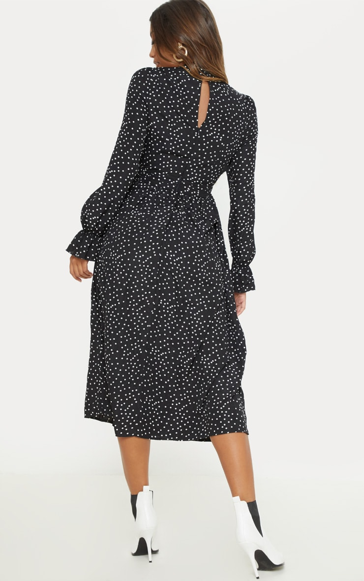 Black Polka Dot Tie Neck Floaty Midi Dress 2