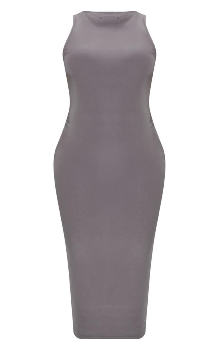 Plus Charcoal Grey Second Skin Slinky Racer Neck Midaxi Dress 3