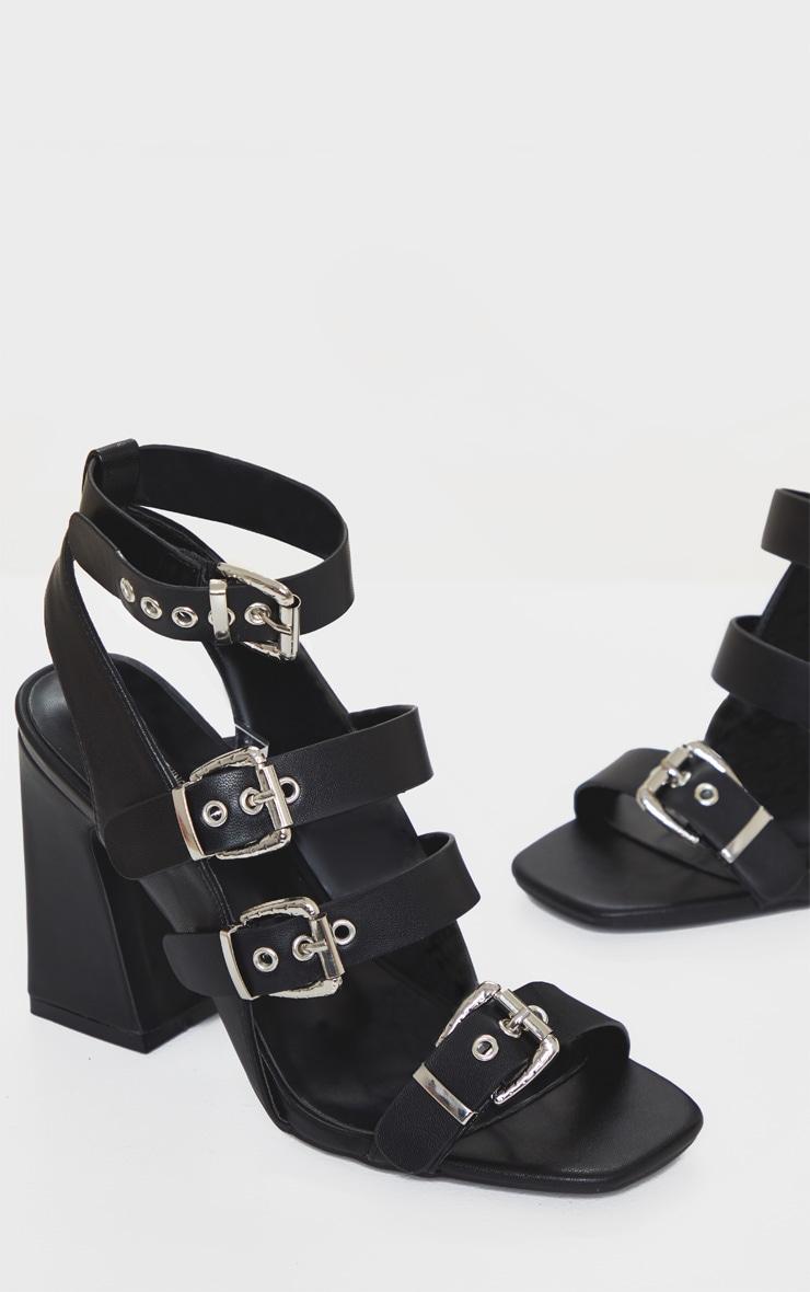 Black Block Heel Multi Buckle Sandals 3