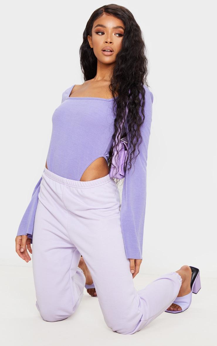 Violet Washed Rib Square Neck High Leg Bodysuit 3