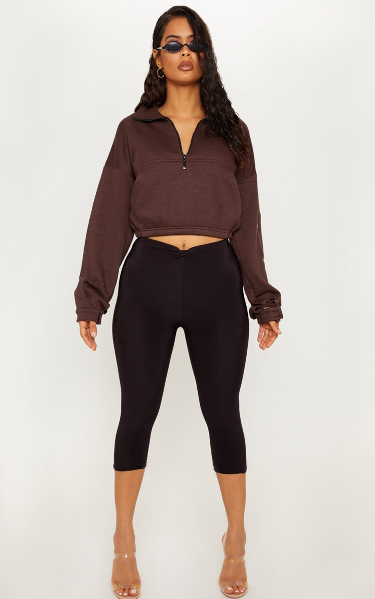 Chocolate Oversized Zip Front Sweater  4