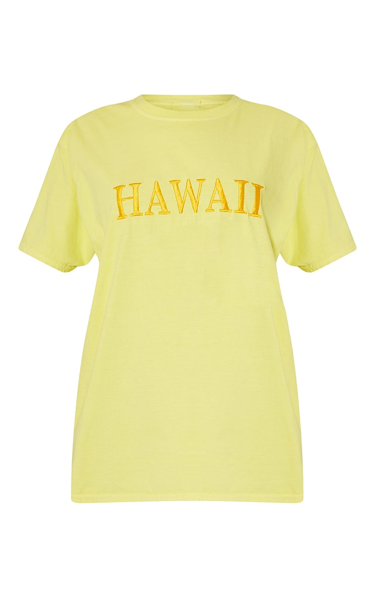 Yellow Hawaii Embroidered Washed T Shirt 5