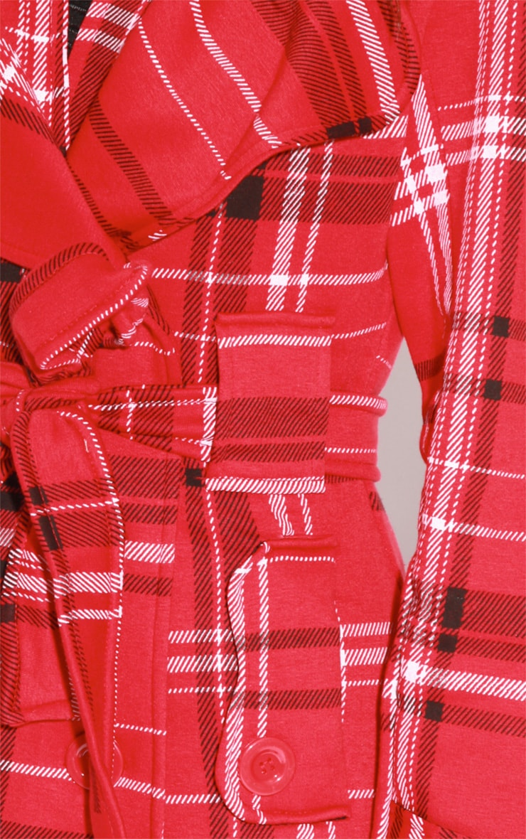 Taylor Red Tartan Trench Coat 5