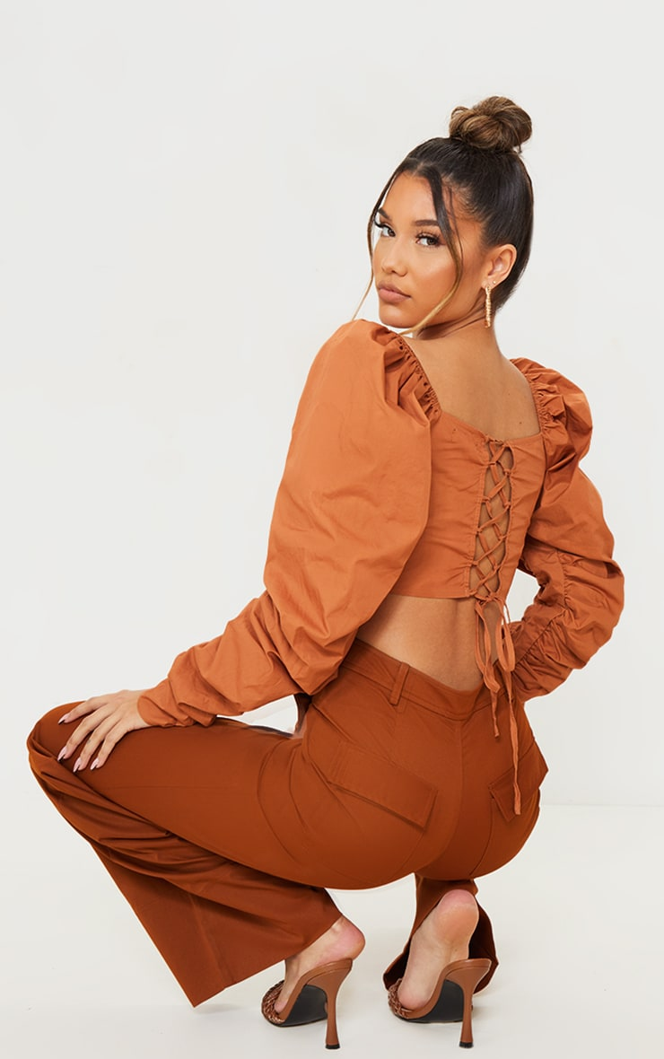 Burnt Orange Cotton Extreme Puff Ruffle Sleeve Lace Up Crop Top 1