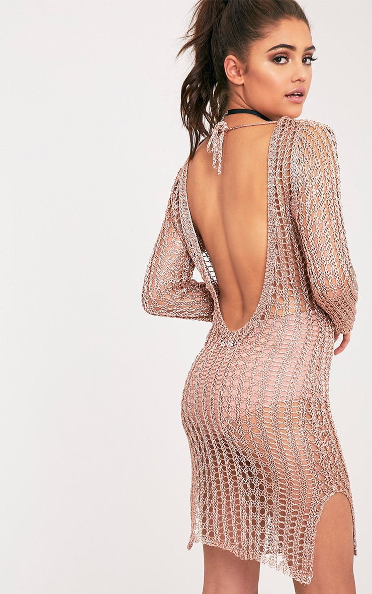 Jasamin Rose Gold Knitted Metallic Knitted Scoop Back Mini Dress 1