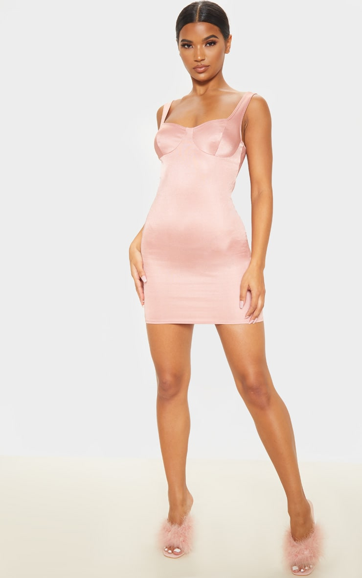 Blush Shimmer Cup Detail Bodycon Dress 4