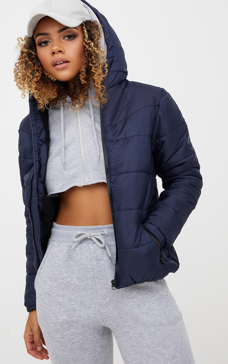 Navy Hooded Puffer Jacket 1
