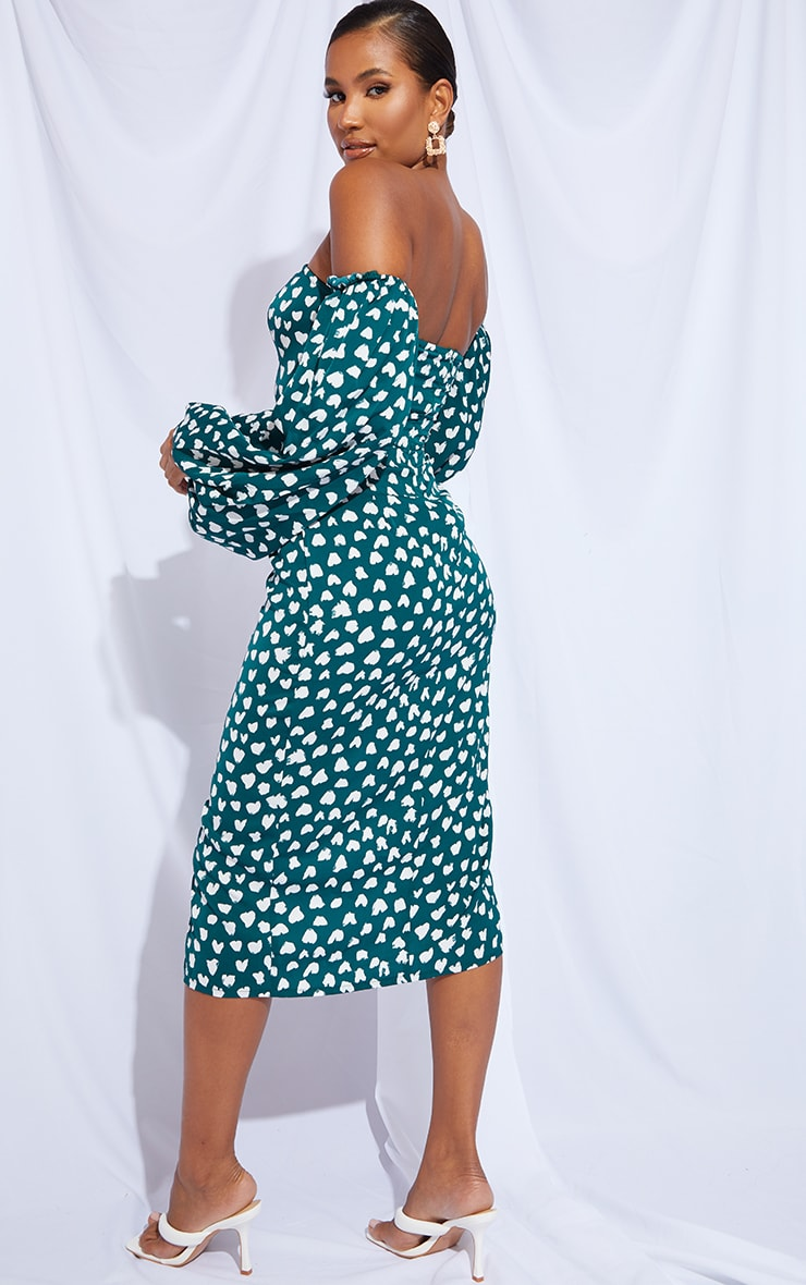 Emerald Green Dalmatian Print Bardot Puff Sleeve Wrap Dress 2