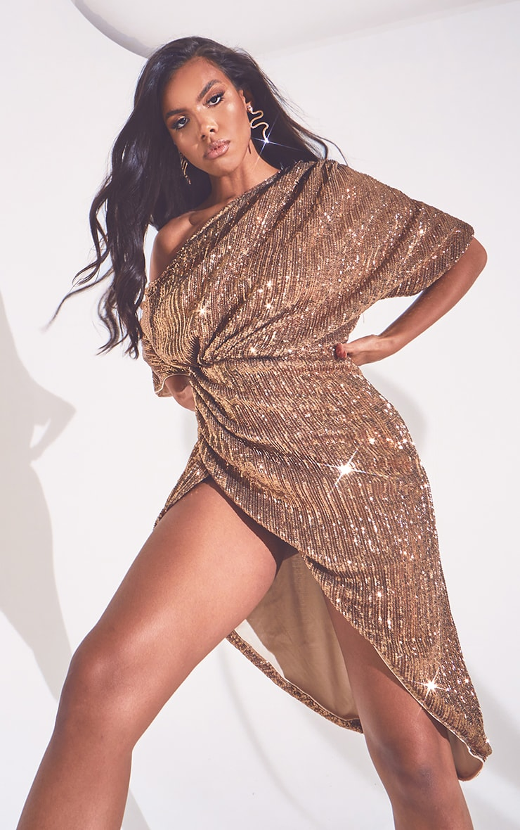 Bronze Off Shoulder Sequin Midi Dress 3