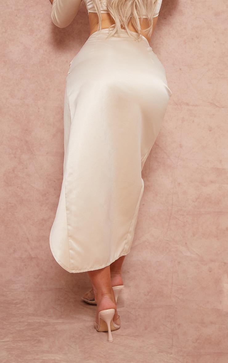 Cream Woven Structured Satin Ruched Split Side Leg Midi Skirt 3