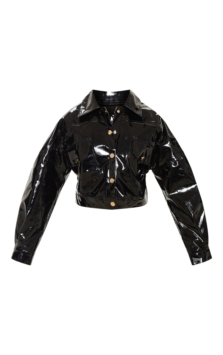 Petite Black Vinyl Cropped Oversized Trucker Jacket 3