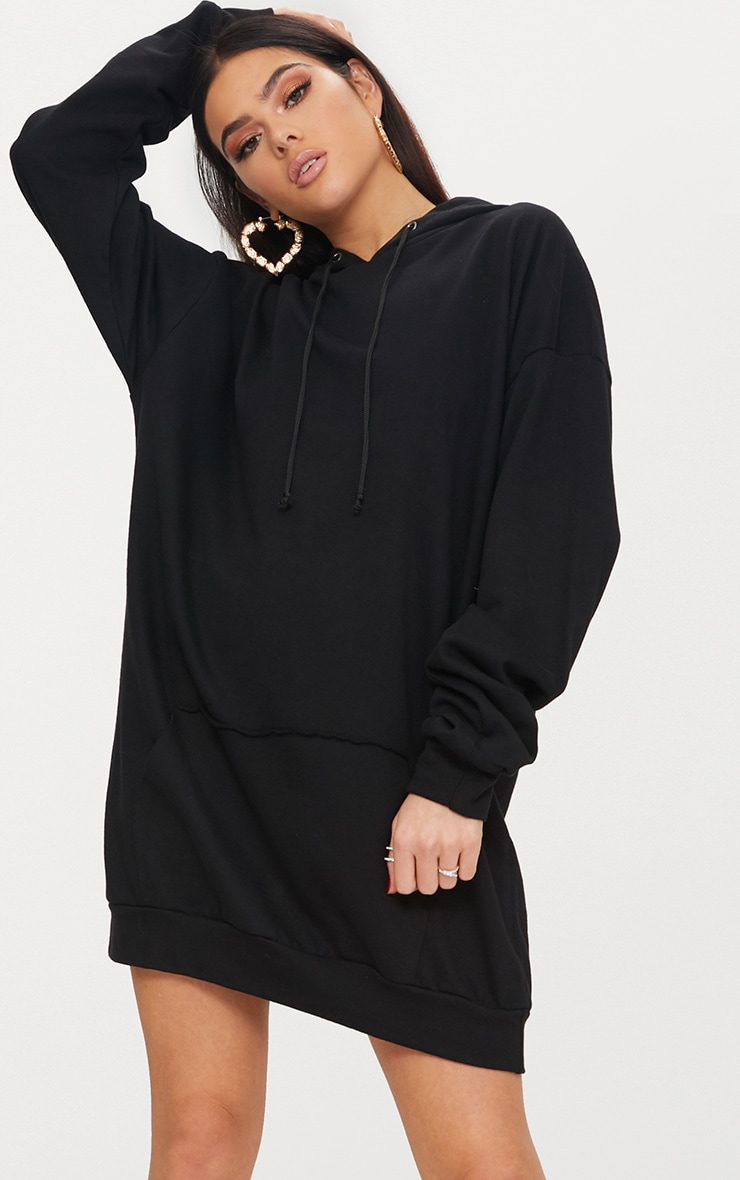 Black Oversized Hoodie Dress