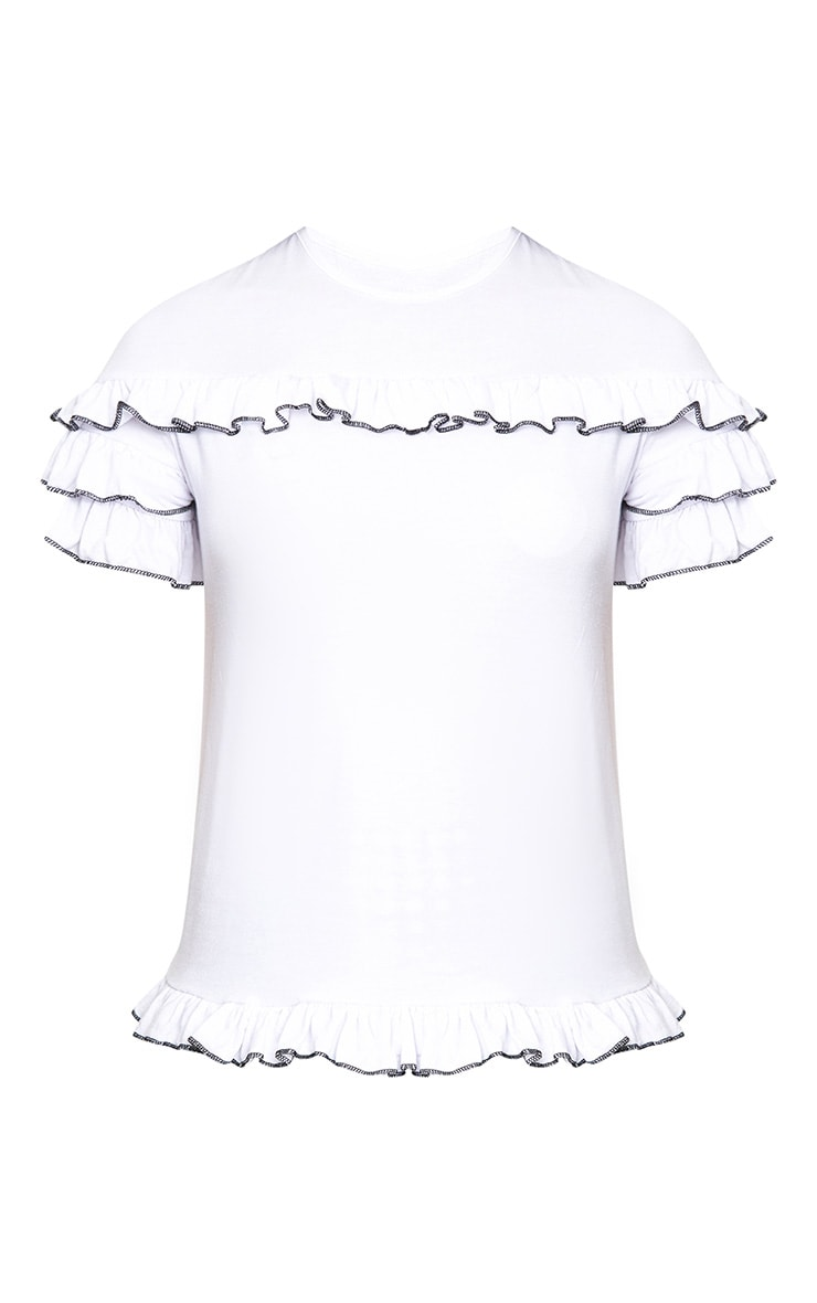 White Frill Contrast Edge T Shirt 3