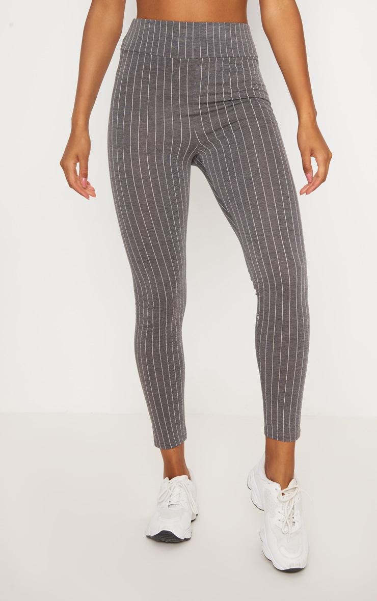 Grey Pinstripe High Waisted Legging  2