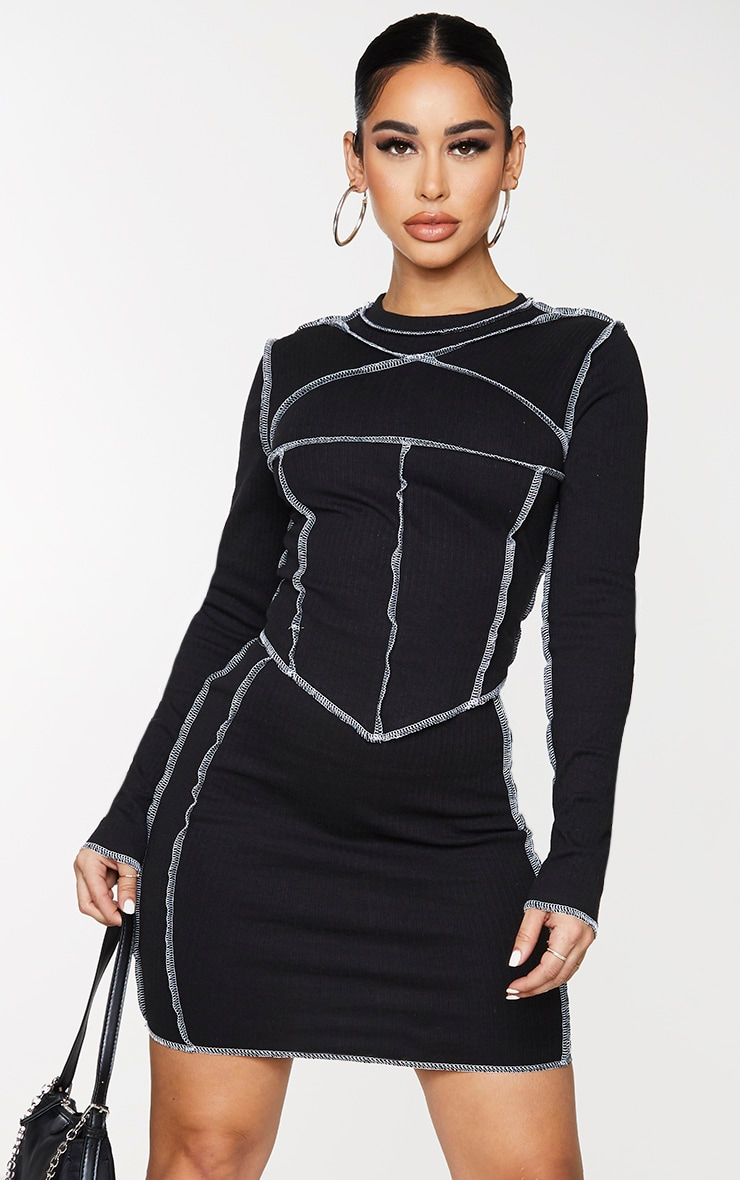 Shape Black Rib Contrast Seam Detail Crop Top 1