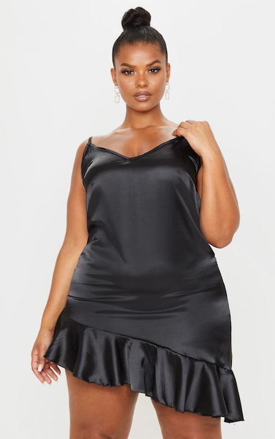 Plus Black Satin Frill Detail Cami Dress