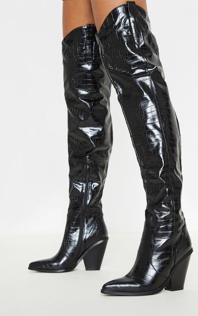 Black Thigh High Croc Western Boot