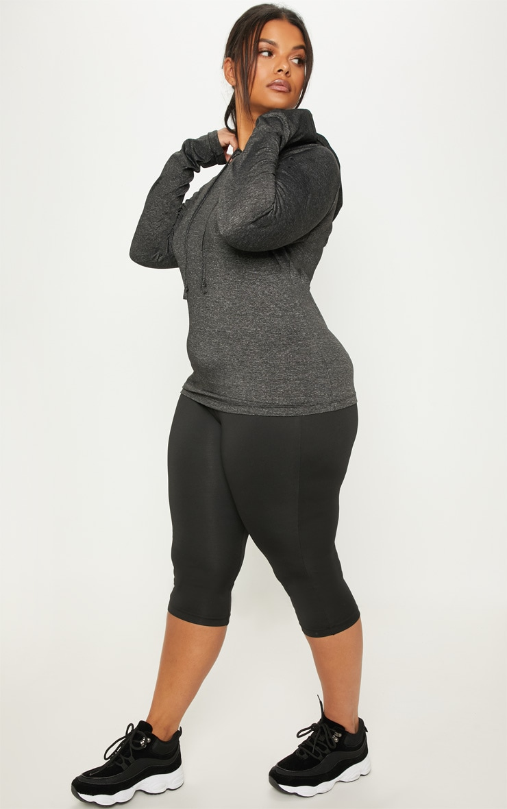 Plus Charcoal Long Sleeve Hooded Gym Top 4