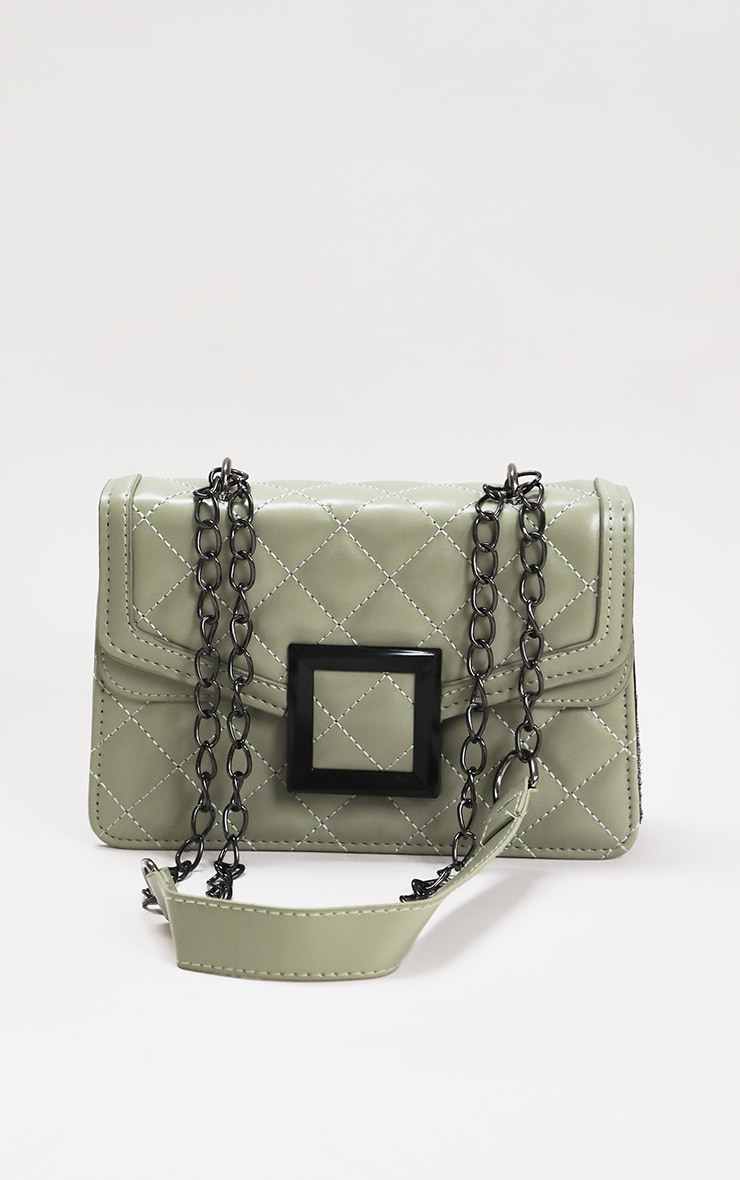 Sage Green Quilted Cross Body Bag 1