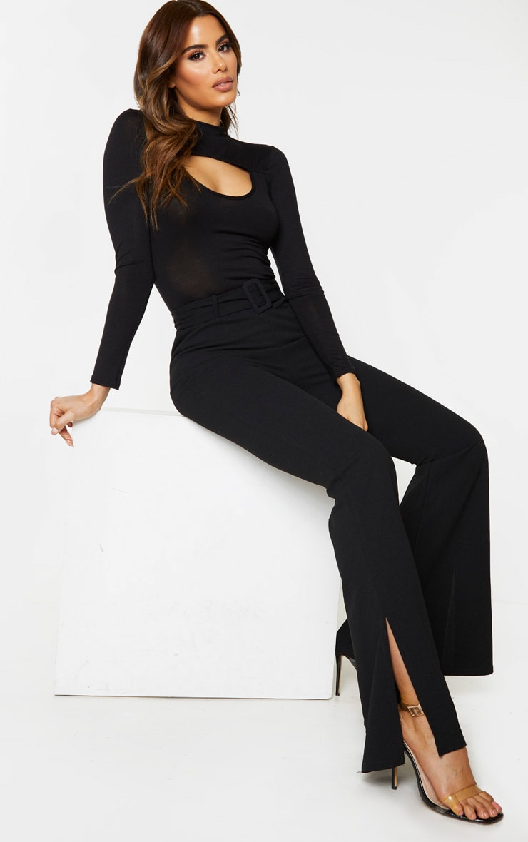Tall Black Crepe Belt Detail Trousers 1